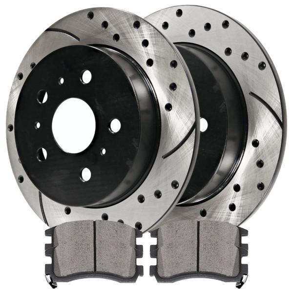 [Rear Set] 2 Drilled & Slotted Performance Brake Rotors & 1 Set Ceramic Brake Pads - Part # PERF65127698