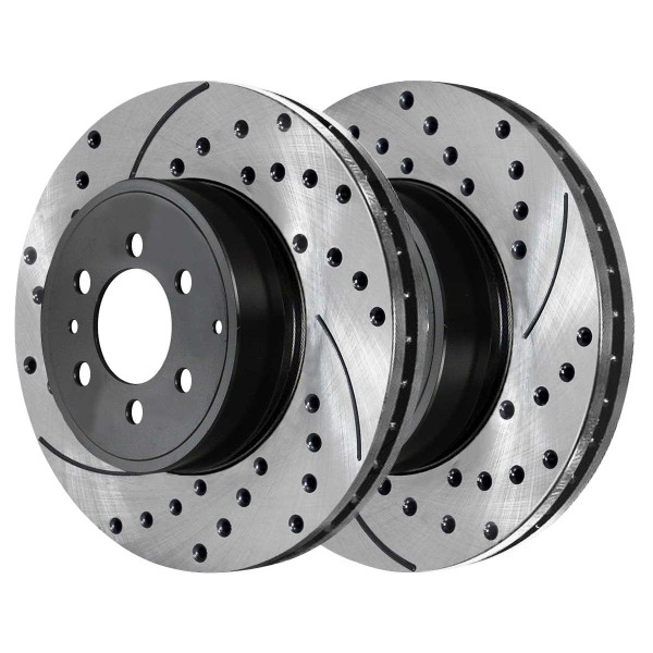 Front and Rear Performance Brake Pad and Performance Drilled and Slotted Rotor Bundle - Part # PERFQUAD0065