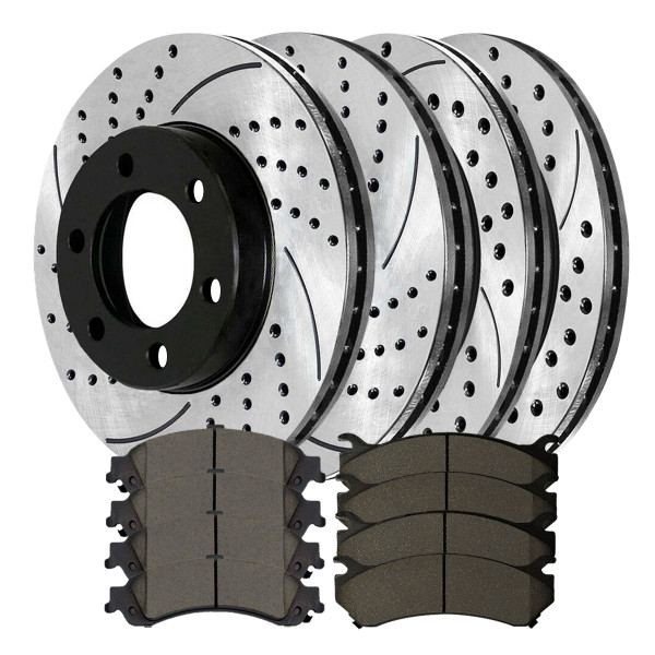 [Front & Rear Set] 4 Drilled & Slotted Performance Brake Rotors & 2 Sets Ceramic Brake Pads - Part # PERFQUAD0088