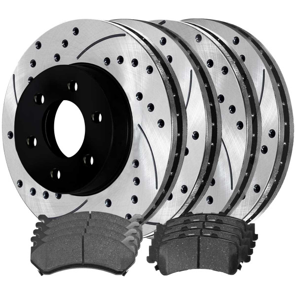 Front and Rear Performance Brake Pad and Performance Drilled and Slotted Rotor Bundle 325mm by 85mm Rear Rotors - Part # PERFQUAD0096