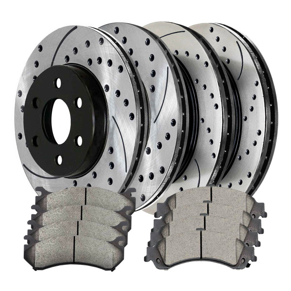 [Front & Rear Set] 4 Drilled & Slotted Performance Brake Rotors & 2 Sets Ceramic Brake Pads - Part # PERFQUAD0117