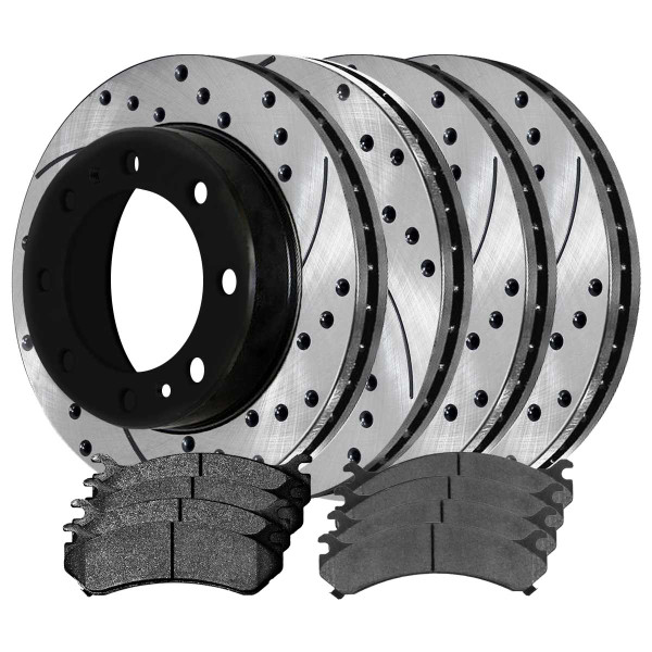 [Front & Rear Set] 4 Drilled & Slotted Performance Brake Rotors & 2 Sets Ceramic Brake Pads - Part # PERFQUAD0118