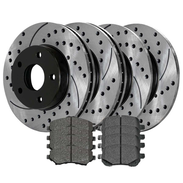 [Front & Rear Set] 4 Drilled & Slotted Performance Brake Rotors & 2 Sets Ceramic Brake Pads - Part # PERFQUAD0133