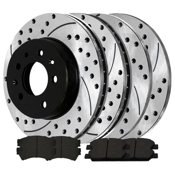 Front and Rear Performance Brake Pad and Performance Drilled and Slotted Rotor Bundle - Part # PERFQUAD0190