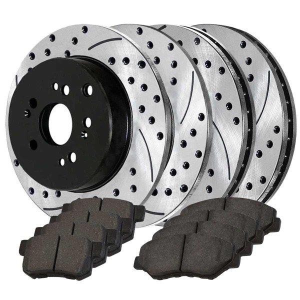 Front and Rear Performance Brake Pad and Performance Drilled and Slotted Rotor Bundle - Part # PERFQUAD0210