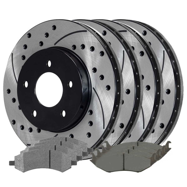 [Front + Rear Kit] 4 Performance Drilled Slotted Brake Rotors and 8 Ceramic Pads - Part # PERFQUAD0545
