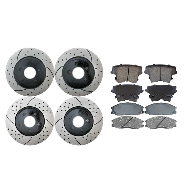[Front & Rear Set] 4 Drilled & Slotted Performance Brake Rotors & 2 Sets Ceramic Brake Pads - Part # PERFQUAD0580