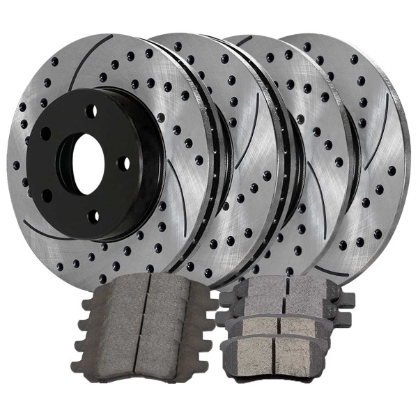 [Front & Rear Set] 4 Drilled & Slotted Performance Brake Rotors & 2 Sets Ceramic Brake Pads - Part # PERFQUAD0658