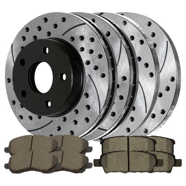 [Front & Rear Set] 4 Drilled & Slotted Performance Brake Rotors & 2 Sets Ceramic Brake Pads - Part # PERFQUAD769