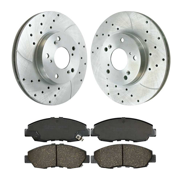 Front Performance Silver Rotors and Ceramic Pads Set - Part # PR41259DSZPR-SCD465A