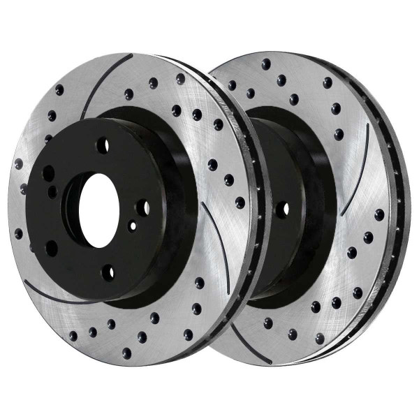 [Front Set] 2 Drilled & Slotted Performance Brake Rotors - Part # PR41277LR