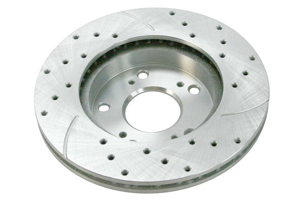 Front Pair of Performance Silver Drilled Slotted Rotors - Part # PR41313DSZPR