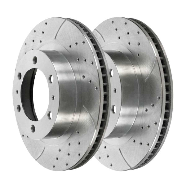 Front Performance Brake Rotor Pair Silver 12.5 Inch Diameter 6 Stud - Part # PR41329DSZPR