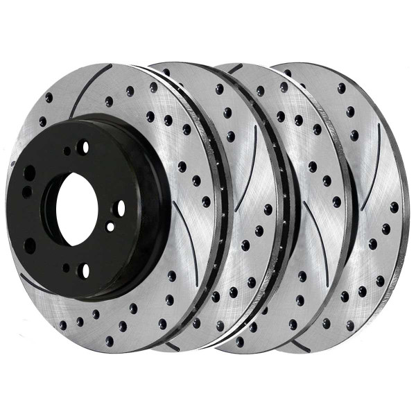 Front and Rear Performance Drilled and Slotted Brake Rotor Bundle 4 Wheel Disc - Part # PR41349PR41422
