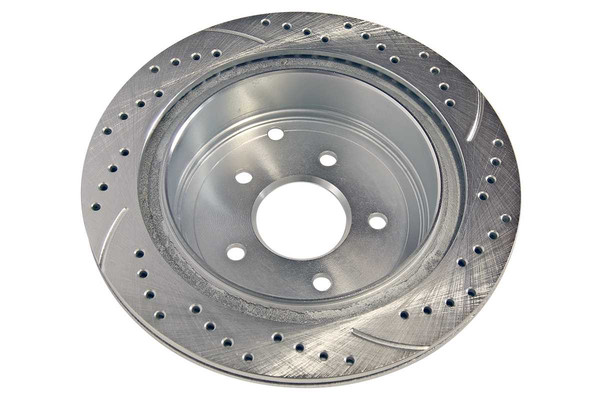 Rear Pair of Performance Silver Drilled Slotted Rotors - Part # PR41350DSZPR