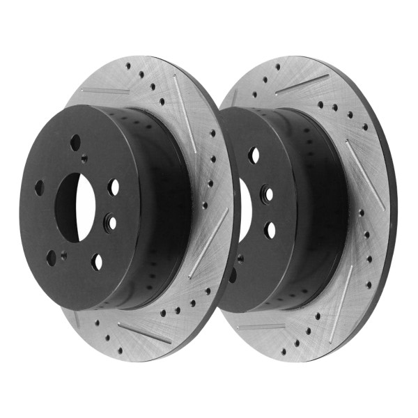 [Rear Set] 2 Drilled & Slotted Performance Brake Rotors - Part # PR41435LR