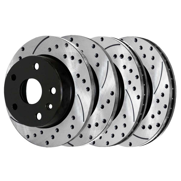 Front and Rear Performance Drilled and Slotted Brake Rotor Bundle - Part # PR41466-41314PR