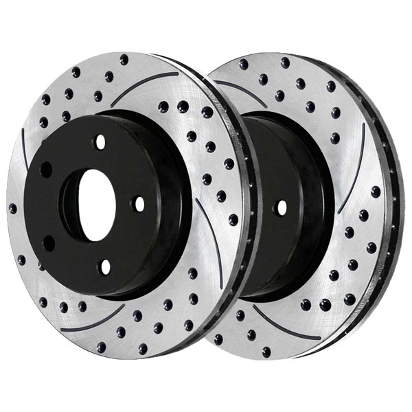 Front Performance Drilled and Slotted Brake Rotor Pair - Part # PR41466LR
