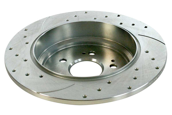 Rear Pair of Performance Silver Drilled Slotted Rotors - Part # PR41471DSZPR