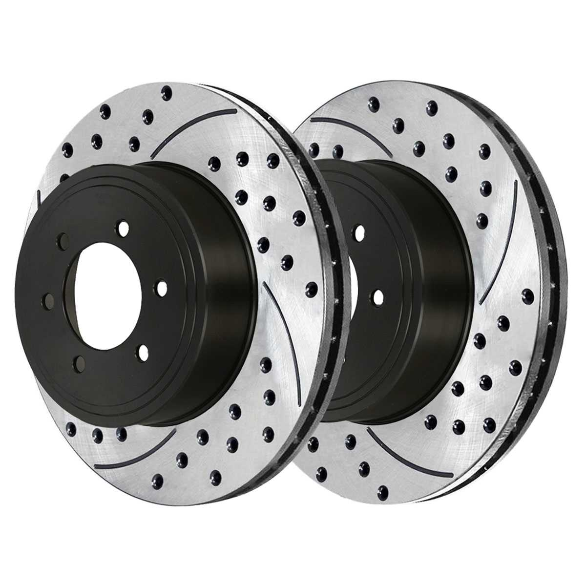 AutoShack SMKPR61206120945 Pair of 2 Front Driver and Passenger Side Drilled and Slotted Disc Brake Kit Rotors and Metallic Pads Replacement for 1999 2000 2001 2002 2003 2004 Jeep Grand Cherokee