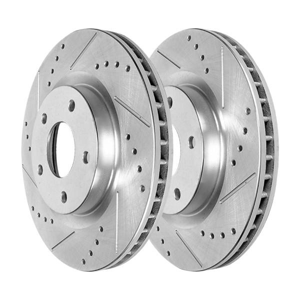 Front Drilled Slotted Disc Brake Rotors Silver Set of 2, Driver and Passenger Side - Part # PR41514DSZPR