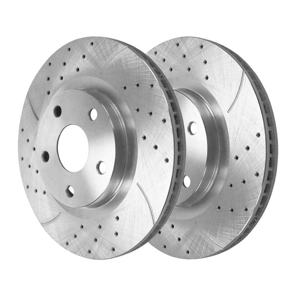 Front Performance Drilled and Slotted Brake Rotor Pair Silver - Part # PR41529DSZPR