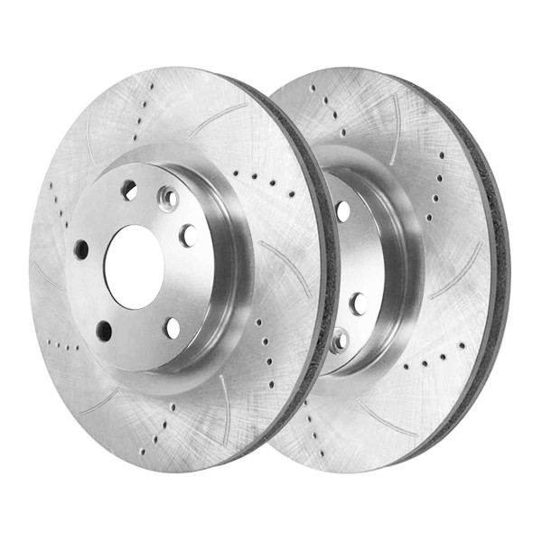 Rear Performance Drilled and Slotted Brake Rotor Pair Silver - Part # PR41532DSZPR