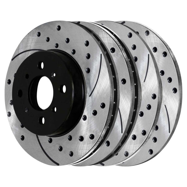 Front and Rear Performance Drilled and Slotted Brake Rotor Bundle - Part # PR4297-41151PR