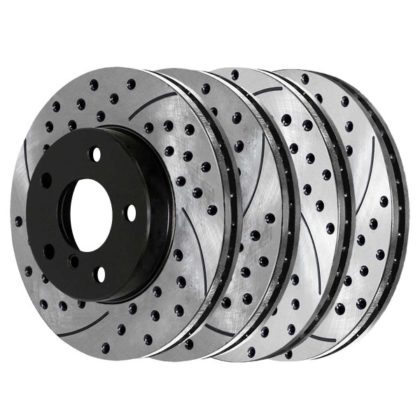 Front and Rear Performance Drilled and Slotted Brake Rotor Bundle - Part # PR44175PR44222