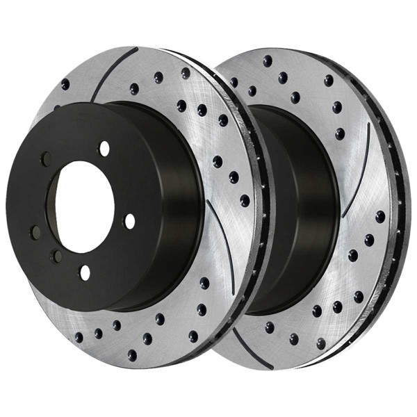 Rear Performance Drilled and Slotted Brake Rotor Pair - Part # PR44221LR