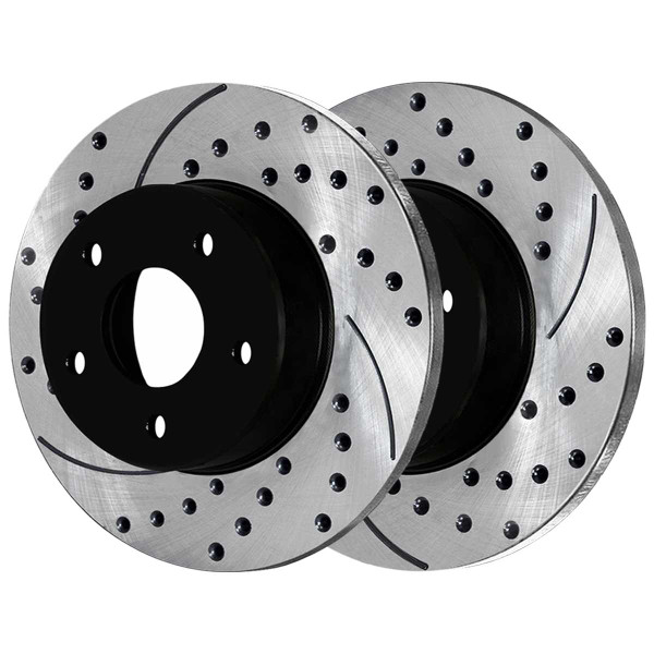 Rear Performance Drilled and Slotted Brake Rotor Pair - Part # PR6121LR