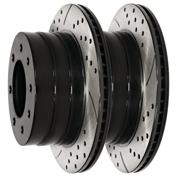 Rear Drilled Slotted Disc Brake Rotors Black Set of 2, Driver and Passenger Side - Part # PR63013LR