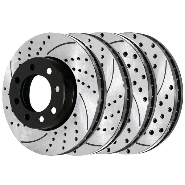 Front and Rear Performance Drilled and Slotted Brake Rotor Bundle 8 Stud - Part # PR63014PR63013
