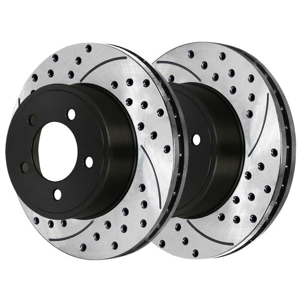 Front and Rear Performance Drilled and Slotted Brake Rotor Bundle Vented 12.60 Inch Diameter - Part # PR63026-63025PR