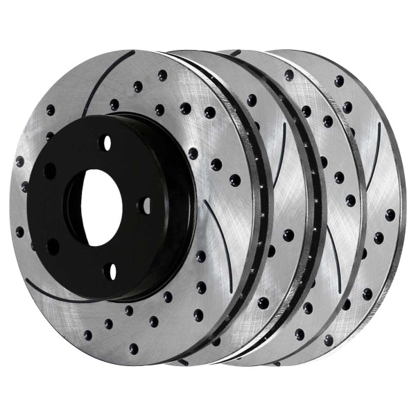 Front and Rear Performance Drilled and Slotted Brake Rotor Bundle - Part # PR64013-64019PR