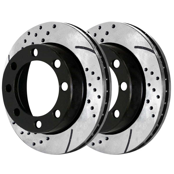 Front Performance Drilled and Slotted Brake Rotor Pair 13.03 Inch Rotor Diameter 4WD - Part # PR64080LR