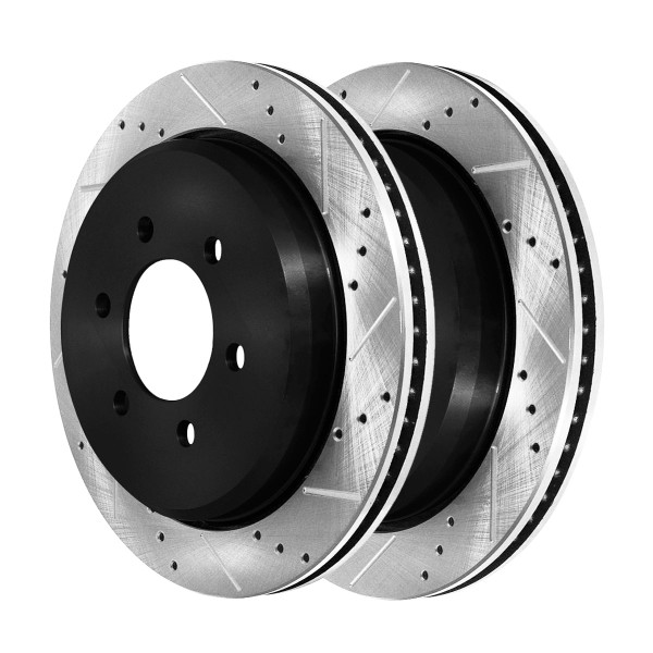 Rear Performance Drilled and Slotted Brake Rotor Pair - Part # PR64102LR