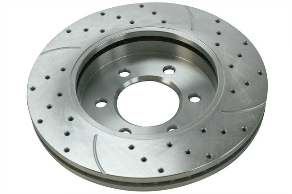 Front Pair of Performance Silver Drilled Slotted Rotors - Part # PR64111DSZPR