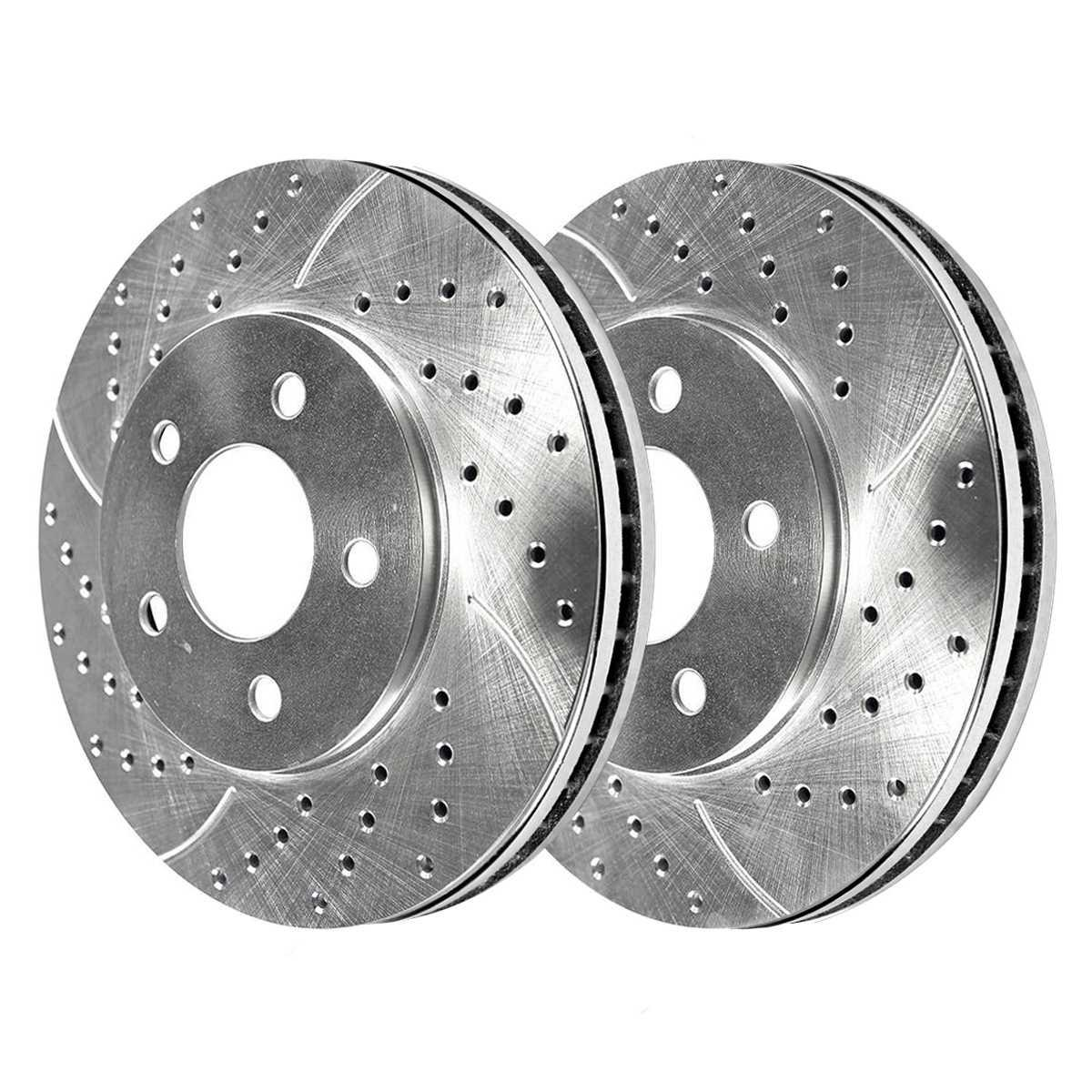 Auto Shack PR64132DSZPR Front Drilled and Slotted Brake Rotor Pair Silver