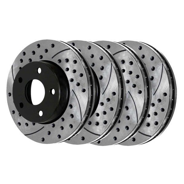 Front and Rear Performance Drilled and Slotted Brake Rotor Bundle - Part # PR64136PR64133