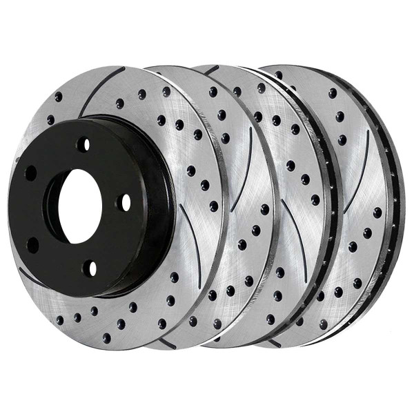 Front and Rear Performance Brake Rotor Bundle - Part # PR64145PR64100