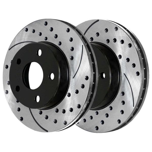 Rear Performance Drilled and Slotted Brake Rotor Pair - Part # PR65047LR