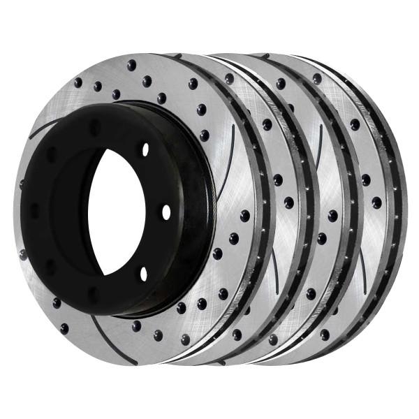 [Front & Rear Set] 4 Drilled & Slotted Performance Brake Rotors - Part # PR65058PR65059