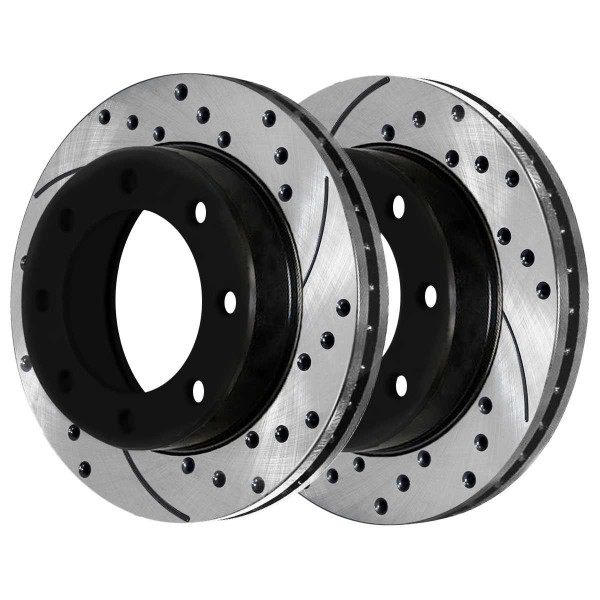 Rear Performance Drilled and Slotted Brake Rotor Pair 330mm By 86.86mm Rotor with 4.63 Inch Diameter Center Hole 4 Wheel Disc - Part # PR65059LR