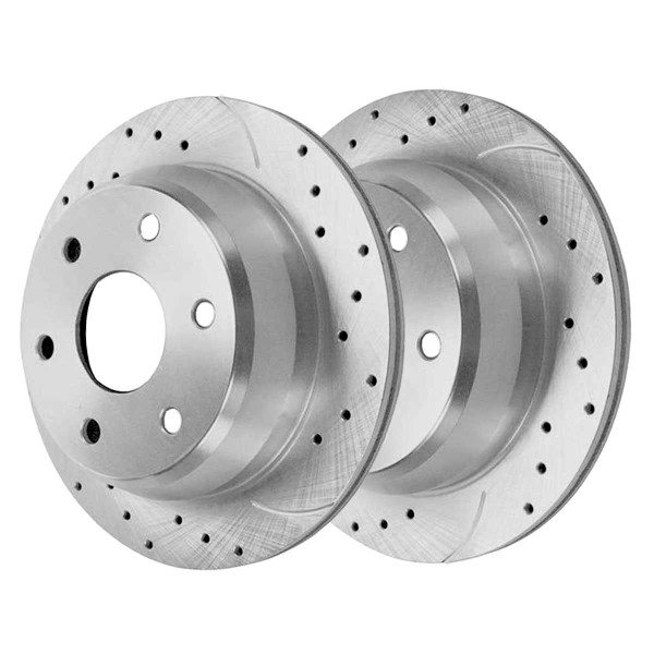 Rear Performance Brake Rotor Pair Silver 325mm Diameter 85mm Height 6 Stud - Part # PR65068DSZPR