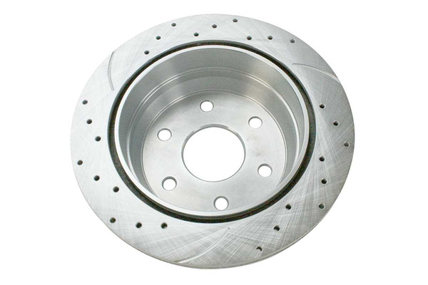 Rear Pair of Performance Silver Drilled Slotted Rotors - Part # PR65068DSZPR