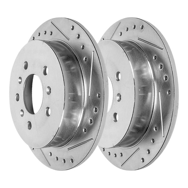 Rear Pair of Performance Silver Drilled Slotted Rotors - Part # PR65127DSZPR