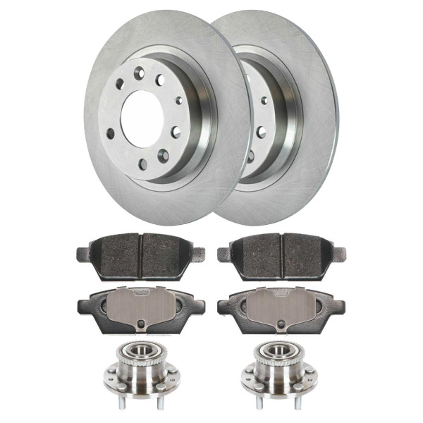 [Rear Set] 2 Brake Rotors & 1 Set Ceramic Brake Pads & 2 Wheel Hub Bearing Assemblies - Part # RHBBK0030