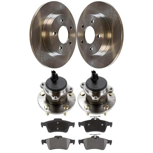 [Rear Set] 2 Brake Rotors & 1 Set Ceramic Brake Pads & 2 Wheel Hub Bearing Assemblies - Part # RHBBK0050
