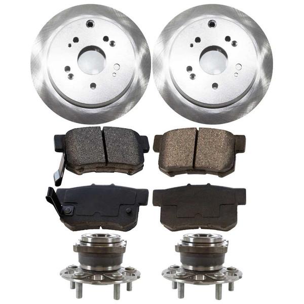 [Rear Set] 2 Brake Rotors & 1 Set Ceramic Brake Pads & 2 Wheel Hub Bearing Assemblies - Part # RHBBK0052